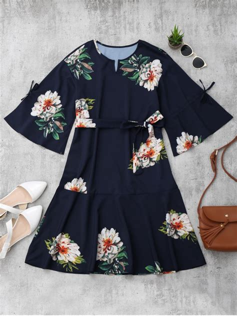 Sleeve Floral A Line Dress flare sleeve belted floral a line dress floral mini
