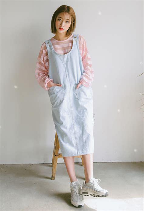 overall korea stylenanda buttoned side denim overall dress kstylick
