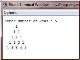triangle pattern in java using while loop java program to print pascal triangle