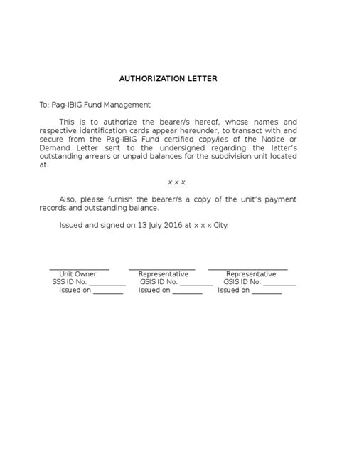 Authorization Letter Pag Ibig offer letter of intent email resume