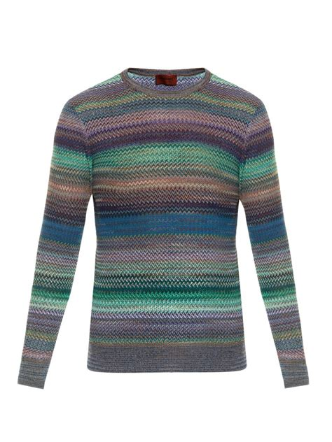 knit sweater with zig zag pattern missoni zigzag crochet knit sweater in multicolor for men