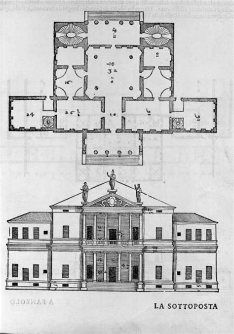 layout drawing en français villa cornaro by palladio 1553 plan and elevation the