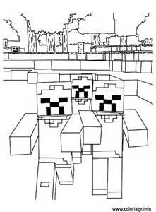 coloriage minecraft une horde zombies dessin