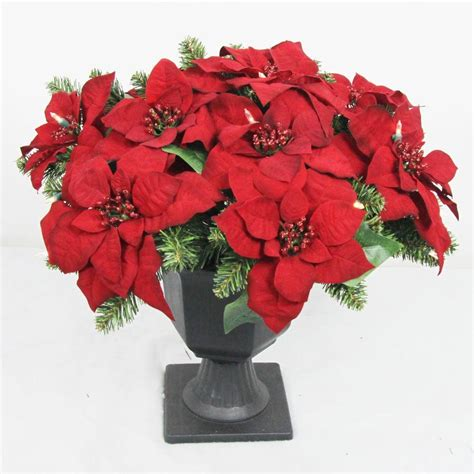 clear poinsetta holiday flower xmas lights home accents 22 in battery operated artificial poinsettia topiary with 35 clear led