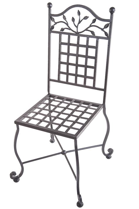 wrought iron chair with legs and handmade leaves