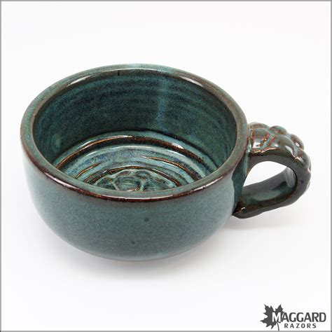 Handcrafted Ceramic Bowls - handmade ceramic lather bowl with mug handle green