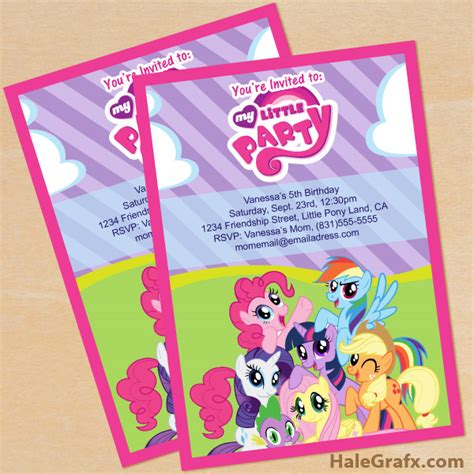 printable birthday invitations my little pony free printable my little pony birthday invitation set