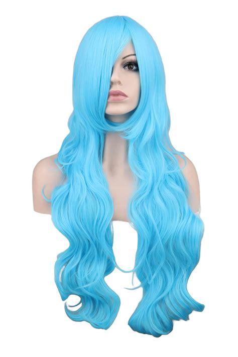 bimbo hairpieces qqxcaiw long wavy cosplay party women men sky blue 80 cm