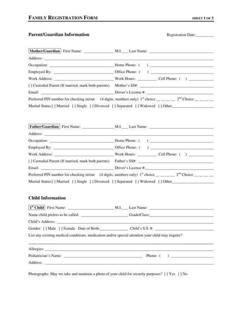 child information form template 9 daycare application form templates free pdf doc
