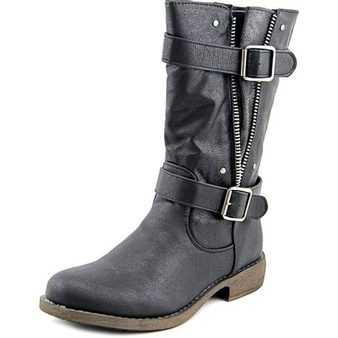 Faux Leather Mid Calf Boots diba b combat faux leather black mid calf boot boots