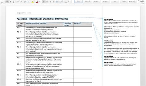 audit schedule template iso 9001 iso 9001 2015 audit toolkit