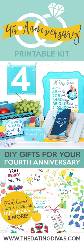 fourth anniversary gift printable kit the dating divas