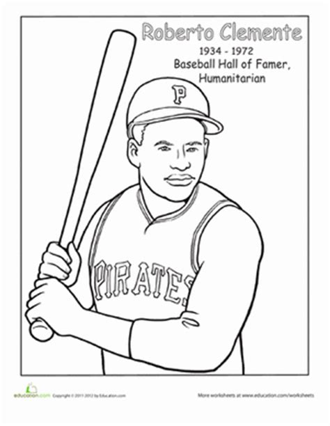Roberto Clemente Worksheet Education Com Hispanic Heritage Month Coloring Pages