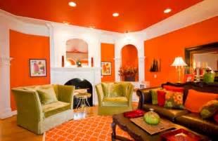 design orange living room wall