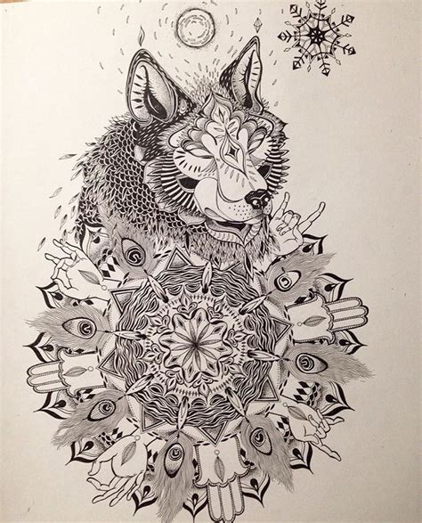 mandala wolf tattoo commission tattoos wolf mandala drawing