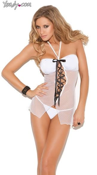 white mesh halter babydoll set black and white mesh