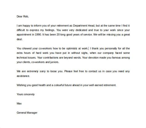 17 Sle Useful Retirement Letters To Download Sle Templates Retirement Resignation Letter Template Free