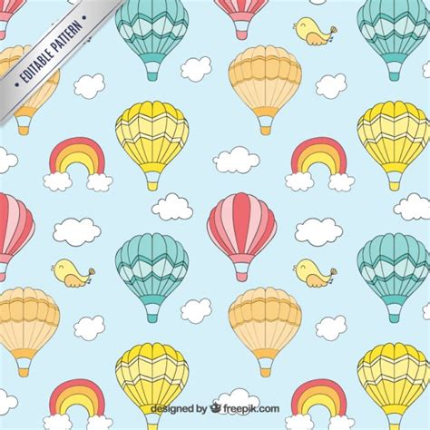 air balloon pattern cute hot air balloons pattern vector free download