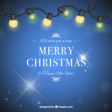 blue and green xmas lights background in blue with yellow and green lights vector free