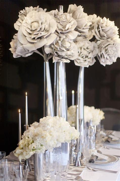 silver centerpieces for table avant garde centerpieces cream glamorous ranun rose