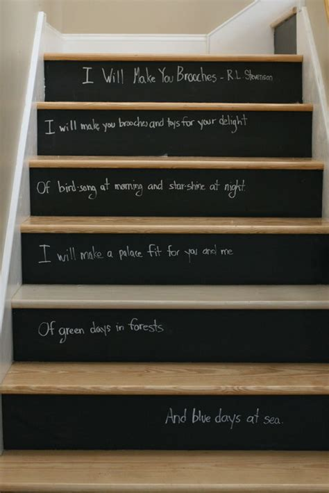 chalk paint stairs chalkboard paint staircase ideas