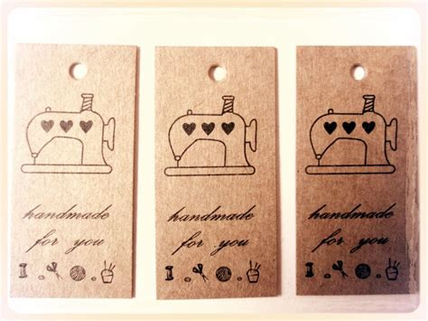 Handmade By Labels Sewing - 25 kraft card labels tags printed with sewing machine