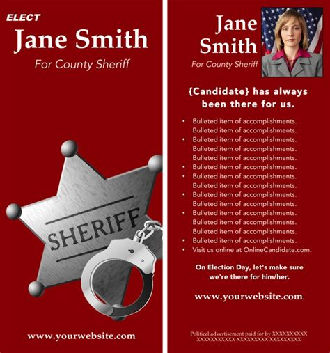 sheriff candidate print templates red theme online