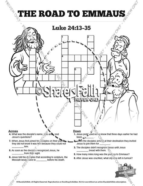 coloring page of jesus on the road to emmaus luke 24 road to emmaus sunday school crossword puzzles
