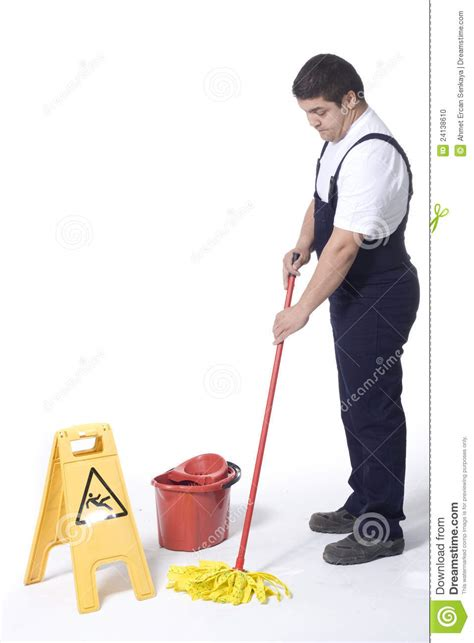Mopping The Floor by A Worker Is Mopping White Floor Stock Photo Image 24138610