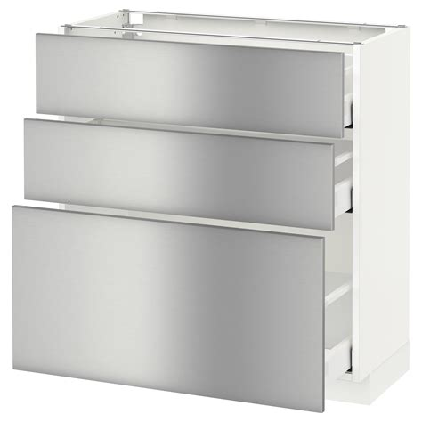 stainless steel kitchen cabinets ikea metod maximera base cabinet with 3 drawers white grevsta