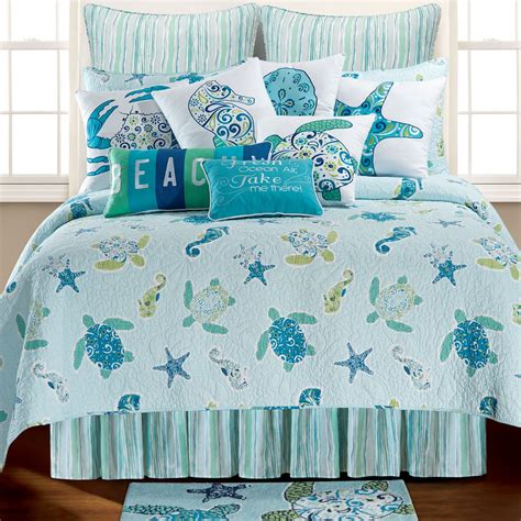 bedding quilts imperial coast light blue sealife quilt bedding