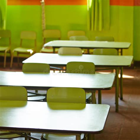 empty classroom   elementary stock photo image