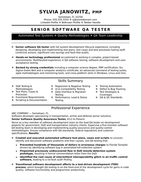 software testing resume experienced qa software tester resume sle