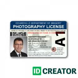 professional photographer id card from idcreator com