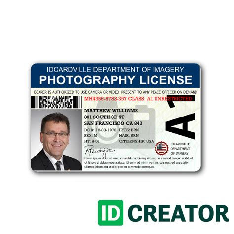 id card professional photographer id card from idcreator
