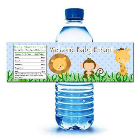 Baby Shower Water Bottle Labels by Printable Jungle Safari Zoo Water Bottle Labels Wrappers