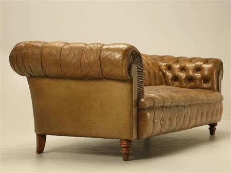 Original Unrestored Chesterfield Tufted Leather Sofa At Original Chesterfield Sofa