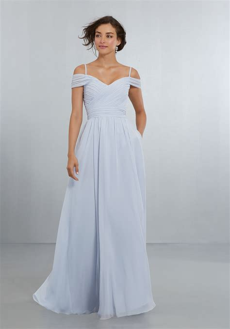 draped neckline chiffon bridesmaids dress with off the shoulder draped