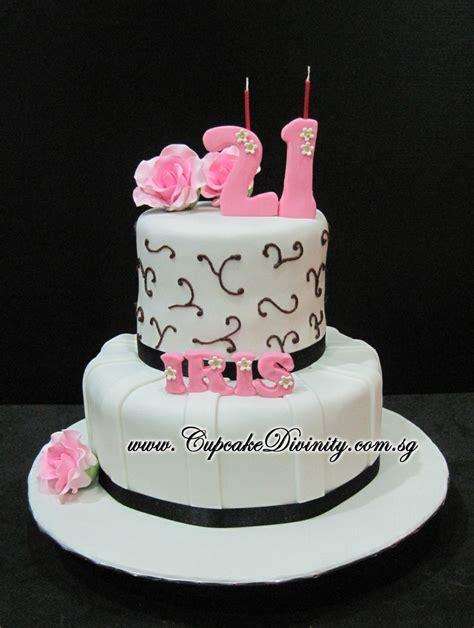 21st Birthday Cakes by Cupcake Divinity Mini 2 Tier Iris 21st Birthday Fondant Cake