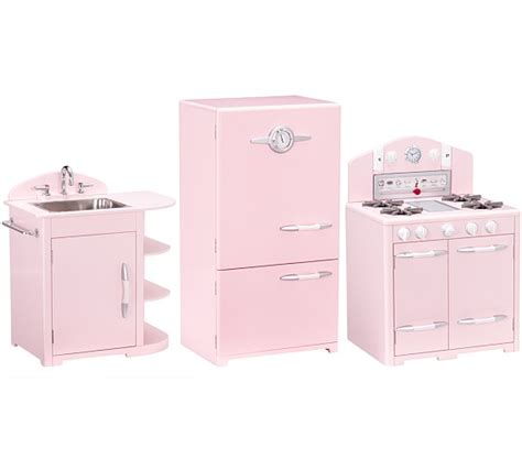 pink retro kitchen collection pink retro kitchen sink icebox oven set pottery barn kids