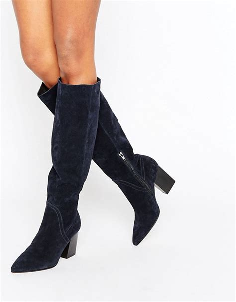 asos asos suede pointed slouch knee high boots