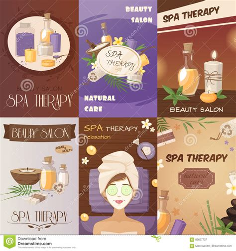 beauty personal care natural healthy concepts spa therapy and beauty cartoon posters stock vector