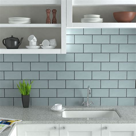 blue kitchen tiles metro tiles are a popular modern style for kitchens shown