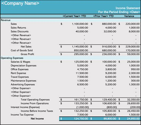 How To Prepare An Income Statement 5 Free Templates Income Statement Template Excel