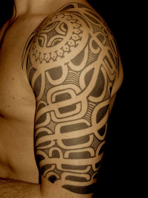 marquesan tribal tattoo marquesan inspired half sleeve higgins