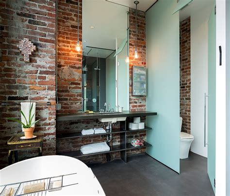 exposed brick wall lighting rugged and ravishing 25 bathrooms with brick walls