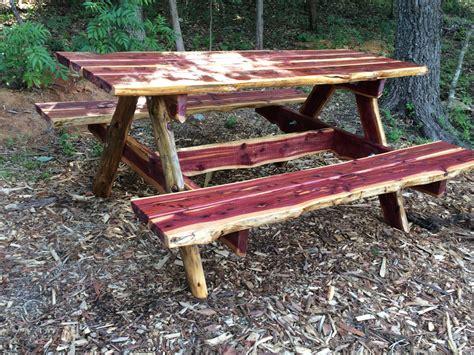 rustic outdoor picnic tables ft live edge eastern cedar picnic table rustic uniqu