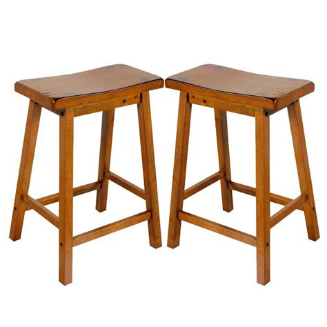 oak saddle bar stools gaucho set of 2 kitchen 24 quot h counter height bar saddle