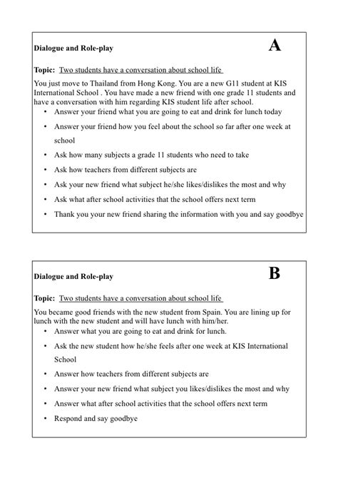 Dialogue and Role-Play Activity