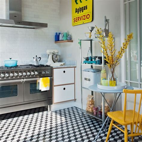 retro kitchen flooring ideas industrial style kitchen with geometric tiles kitchen